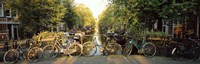 Bicycles On Bridge Over Canal, Amsterdam, Netherlands Fine-Art Print