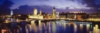 Buildings lit up at dusk, Big Ben, Houses Of Parliament, London, England Fine-Art Print