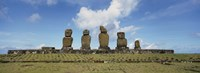 Moai statues in a row, Tahai Archaeological Site,  Easter Island, Chile Fine-Art Print