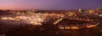 High angle view of a market lit up at dusk, Djemaa El Fna, Medina Quarter, Marrakesh, Morocco Fine-Art Print