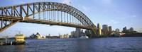Australia, New South Wales, Sydney, Sydney harbor, View of bridge and city Fine-Art Print