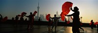 Silhouette Of A Group Of People Dancing In Front Of Pudong, The Bund, Shanghai, China Fine-Art Print