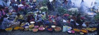 High Angle View Of A Group Of People In A Vegetable Market, Solola, Guatemala Fine-Art Print