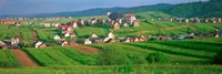 High angle view of houses in a field, Tatra Mountains, Slovakia Fine-Art Print