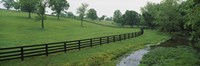 Fence in a field, Woodford County, Kentucky, USA Fine-Art Print