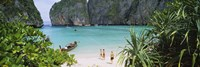 High angle view of tourists on the beach, Mahya Beach, Ko Phi Phi Lee, Phi Phi Islands, Thailand Fine-Art Print