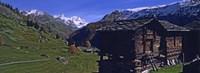Log cabins on a landscape, Matterhorn, Valais, Switzerland Fine-Art Print