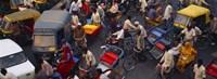 High angle view of traffic on the street, Old Delhi, Delhi, India Fine-Art Print