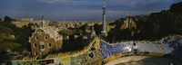 High angle view of a city, Parc Guell, Barcelona, Catalonia, Spain Fine-Art Print