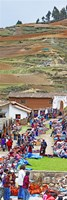 Group of people in a market, Chinchero Market, Andes Mountains, Urubamba Valley, Cuzco, Peru Fine-Art Print