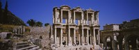 Tourists in front of the old ruins of a library, Library At Epheses, Ephesus, Turkey Fine-Art Print