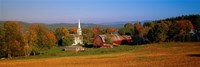 Church and a barn in a field, Peacham, Vermont, USA Fine-Art Print