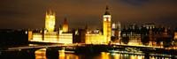 Buildings lit up at night, Westminster Bridge, Big Ben, Houses Of Parliament, Westminster, London, England Fine-Art Print