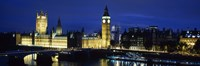 Buildings lit up at dusk, Westminster Bridge, Big Ben, Houses Of Parliament, Westminster, London, England Fine-Art Print