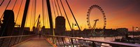 Bridge with ferris wheel, Golden Jubilee Bridge, Thames River, Millennium Wheel, City Of Westminster, London, England Fine-Art Print
