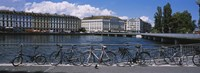 Buildings at the waterfront, Rhone River, Geneva, Switzerland Fine-Art Print