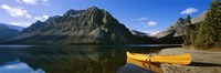 Canoe at the lakeside, Bow Lake, Banff National Park, Alberta, Canada Fine-Art Print