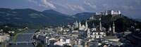 High angle view of a castle on top of a mountain, Hohensalzburg Fortress, Salzach River, Salzburg, Austria Fine-Art Print