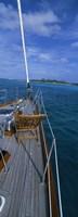 Chair on a boat deck, Exumas, Bahamas Fine-Art Print