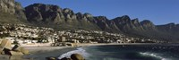 Town at the coast with a mountain range, Twelve Apostle, Camps Bay, Cape Town, Western Cape Province, Republic of South Africa Fine-Art Print
