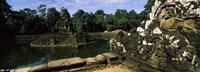 Statues in a temple, Neak Pean, Angkor, Cambodia Fine-Art Print