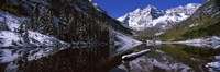 Reflection of a mountain in a lake, Maroon Bells, Aspen, Colorado Fine-Art Print