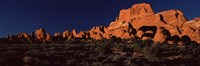 Rock formations on an arid landscape, Arches National Park, Moab, Grand County, Utah, USA Fine-Art Print