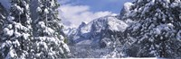 Mountains and waterfall in snow, Tunnel View, El Capitan, Half Dome, Bridal Veil, Yosemite National Park, California Fine-Art Print