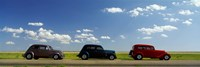 Three Hot Rods moving on a highway, Route 66, USA Fine-Art Print