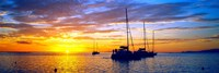 Silhouette of sailboats in the ocean at sunset, Tahiti, Society Islands, French Polynesia Fine-Art Print