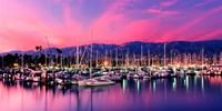 Boats moored in harbor at sunset, Santa Barbara Harbor, Santa Barbara County, California, USA Fine-Art Print
