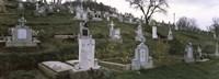 Tombstone in a cemetery, Saxon Church, Biertan, Transylvania, Mures County, Romania Fine-Art Print