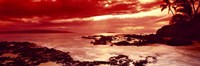 Orange Sunset over the coast, Makena Beach, Maui, Hawaii Fine-Art Print