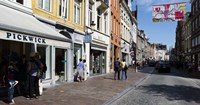 Stores in a street, Bruges, West Flanders, Belgium Fine-Art Print