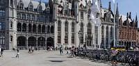 Tourists at a market, Bruges, West Flanders, Belgium Fine-Art Print