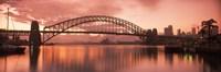 Sydney Harbour Bridge under Pink Sky, Sydney Harbor, Sydney, New South Wales, Australia Fine-Art Print