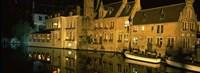 Houses at the waterfront, Bruges, Flanders, Belgium Fine-Art Print