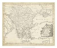 Map of Hungary & Turkey in Europe Fine-Art Print