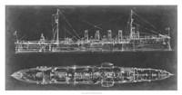 Navy Cruiser Blueprint Fine-Art Print
