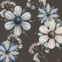 Blue Floral on Sepia I Fine-Art Print