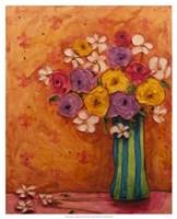 Bouquet in Striped Vase Fine-Art Print