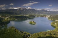 High angle view of a lake, Lake Bled, Julian Alps, Bled, Gorenjska, Slovenia Fine-Art Print