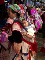 Flower Hmong woman carrying baby on her back, Bac Ha Sunday Market, Lao Cai Province, Vietnam Fine-Art Print