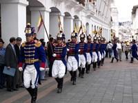Soldiers parade during changing of the guard ceremony, Plaza de La Independencia, Quito, Ecuador Fine-Art Print