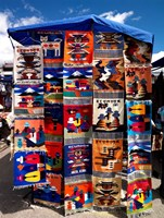 Pillow covers for sale at a handicraft market, Otavalo, Imbabura Province, Ecuador Fine-Art Print