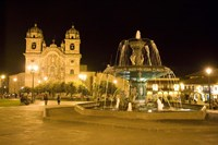 Fountain lit up at night at a town square, Cuzco, Cusco Province, Cusco Region, Peru Fine-Art Print