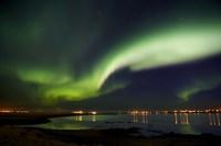 Aurora Borealis in the sky, Alftanes, Reykjavik, Iceland Fine-Art Print