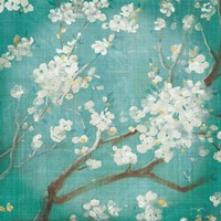 White Cherry Blossoms I on Blue Aged No Bird Fine-Art Print
