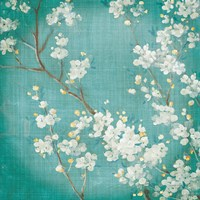 White Cherry Blossoms II on Blue Aged No Bird Fine-Art Print