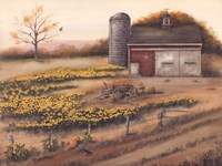 Barn & Sunflowers I Fine-Art Print